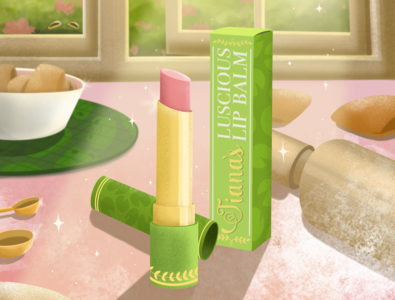 Princess Self Care: Tiana's Lip Care lip balm lip care branding beauty product design product design product princess illustration