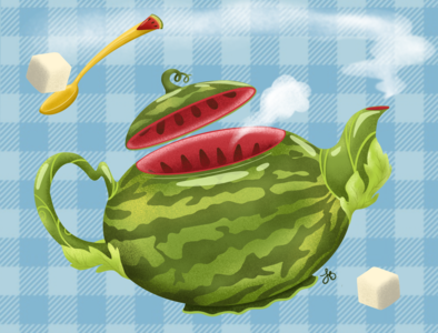 Watermelon Tea lauren draws colorful fruit watermelon product design design illustration