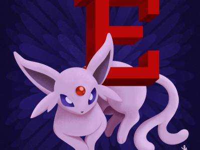 E for Espeon - Pokemon Alphabet alphabet pokemongo pokemon design illustration