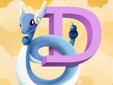 D for Dragonair - Pokémon Alphabet pokemongo pokemon alphabet lauren draws illustration