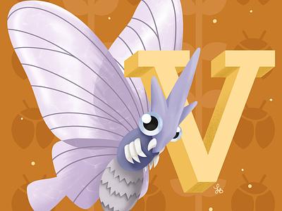 V for Venomoth lauren draws alphabet design characters illustrations venomoth pokemon art pokemon go pokemon