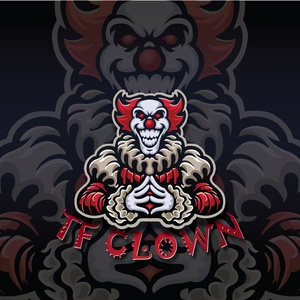 TF CLOWN mascot design mascot character mascot design vector mascot logo typography illustrator illustration design
