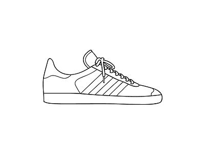 Gazelle white sneaker outline illustration flat black