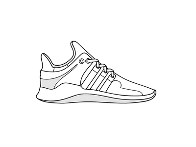 Eqt Support white support sneakers outline illustration flat eqt black adidas