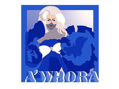 A'Whora barbarella blue serif font retro font gradient flat illustration design illustration drag queen rupauls drag race
