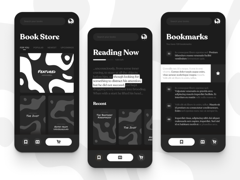 Mobile Reading App UI dark mode ui ux user experience typogaphy reading mobile app design night bw blackandwhite clean book store bookmark book app ui