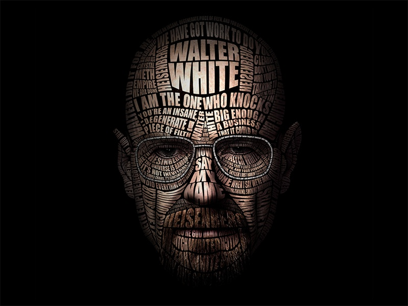 Typographic Portrait of Walter White breaking bad walter white typography portrait