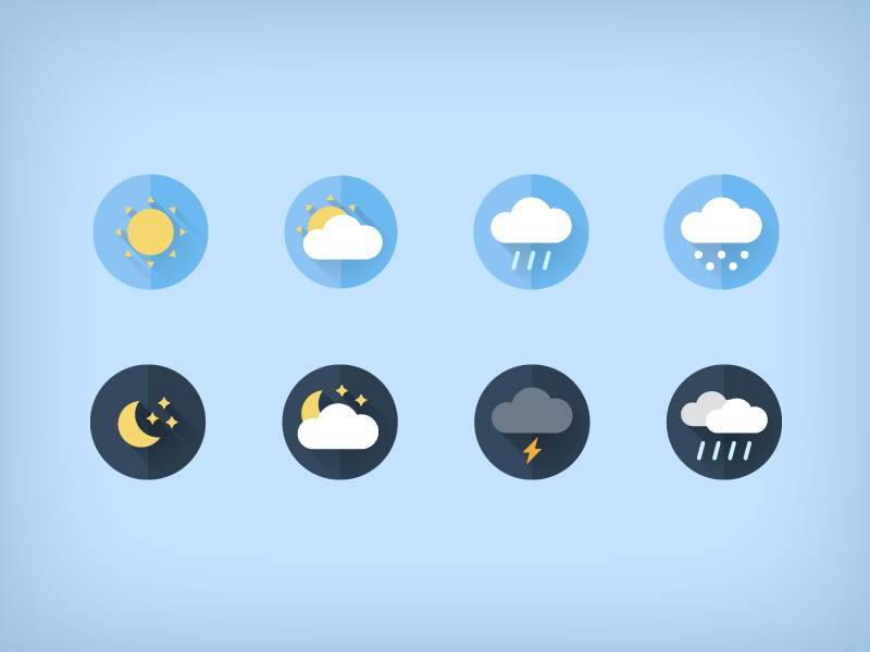 Free weather flat icons snow cloud rain sun illustration freebie download free weather flat icons icon