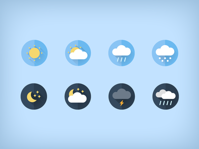 Free weather flat icons snow cloud rain sun illustration freebie download free weather flat icons icon