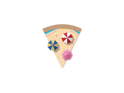 A slice of summer playoff vacation holiday sea beach summer pizza food illustration