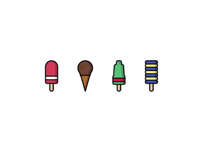 Ice creams! yellow green pink icons icon flat summer chocolate ice cream food illustrator illustration