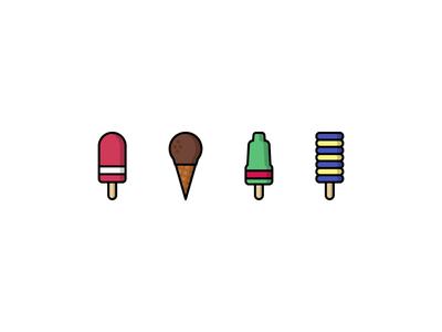 Ice creams! yellow green pink icons icon flat summer chocolate ice cream food illustrator illustration
