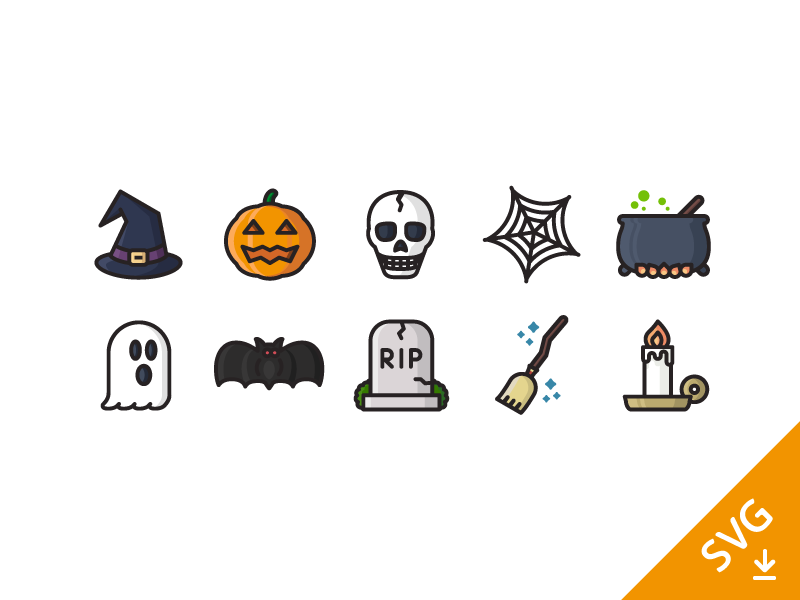Halloween icons (free download) svg vector flat outline scary halloween fun freebie free illustration icons icon