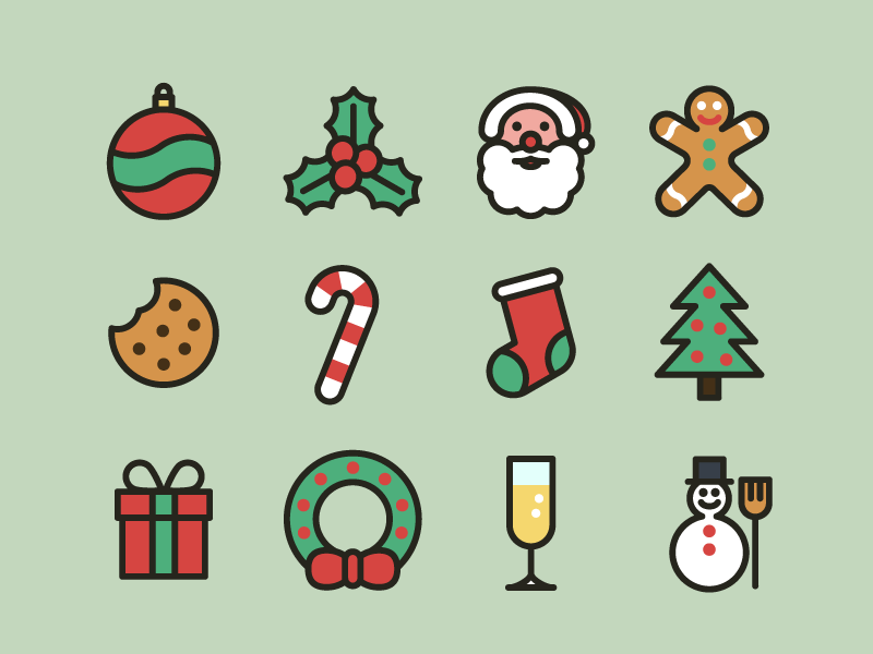 Christmas Icons (Full Set - Free download) mistletoe food candy gingerbread sock freebie free christmas flat outline icons icon