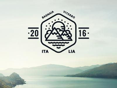 Logo draft v2 sun sky sea cloud mountain lake identity mark logo branding brand badge