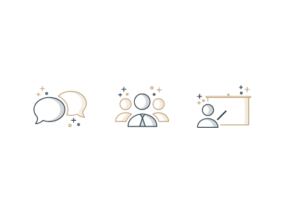 Icons website board teacher team work language vector illustration flat outline icons icon