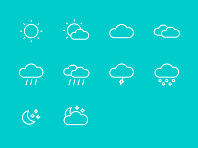 Weather outline icons night star moon snow rain cloud sun forecast meteo weather icons icon