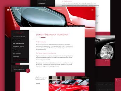 Luxury transportation page user interface web design ui interface layout transportation car luxury travel webdesign web website