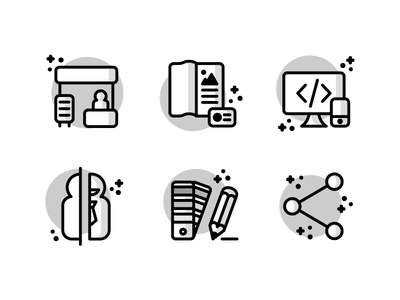 Agency icon set share pencil pantone screen print iphone mac stand illustration outline icons icon