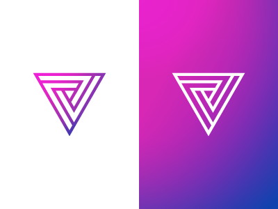 V Logo tribar penrose triangle impossible illusion v symbol mark gradient logo letter lettermark