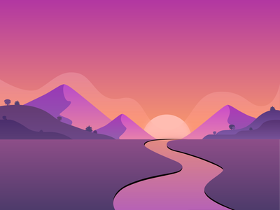 Sunset land mountains mountain trees river sun purple sky hills blur gradients gradient design illustration dribbble
