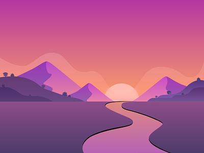 Sunset land mountains mountain trees river sun purple sky hills blur gradients gradient design illustration dribbble