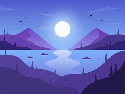 Moonlight texture noise mountains hills birds gradients gradient design illustration dribbble
