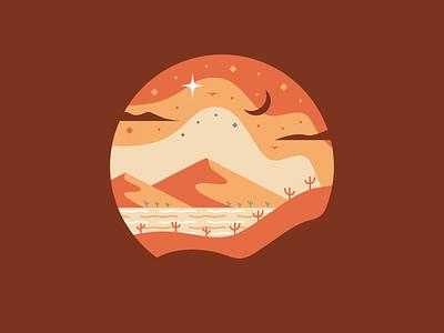 Starry Night moon stars cacti clouds birds mountains hills design illustration dribbble