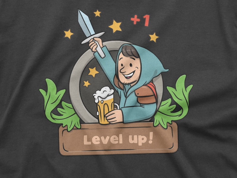 Level up! digital illustration illustration roleplaying fantasy gamer leveling badge tshirt design adventure adventurer hero dungeons and dragons dnd gaming level up