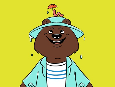 Rainy day friends bears cute animal illustration raincoat umbrella worm weather rain digital illustration childrens illustration illustration bear illustration bear