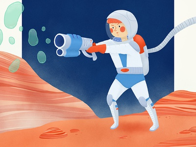 Bubbles in space space man astronaut expedition universe mars space space illustration childrens illustration illustration