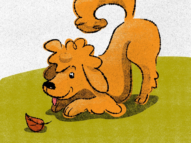 Play time play time autumn retro illustration gritty dog digital illustration illustration