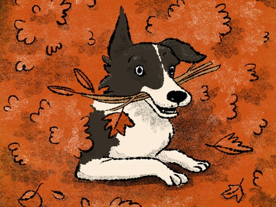 Good boy retro childrens illustrations autumn leaves fetch play time orange gritty retro illustration autumn dog digital illustration childrens illustration illustration