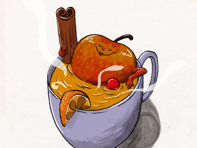 Happy and warm fruit illustration bath warmth relax sweater weather christmas cozy cinnamon mulled cider hot cider cider apple cider apple mixed media ink illustration fruitober inktober2019 inktober ink