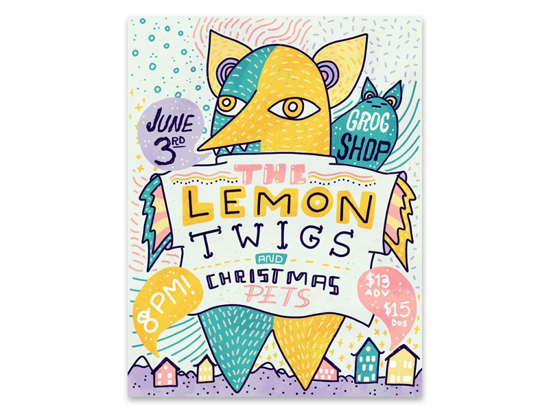 The Lemon Twigs Poster  print poster lemontwigs comic graphicdesign lettering illustration