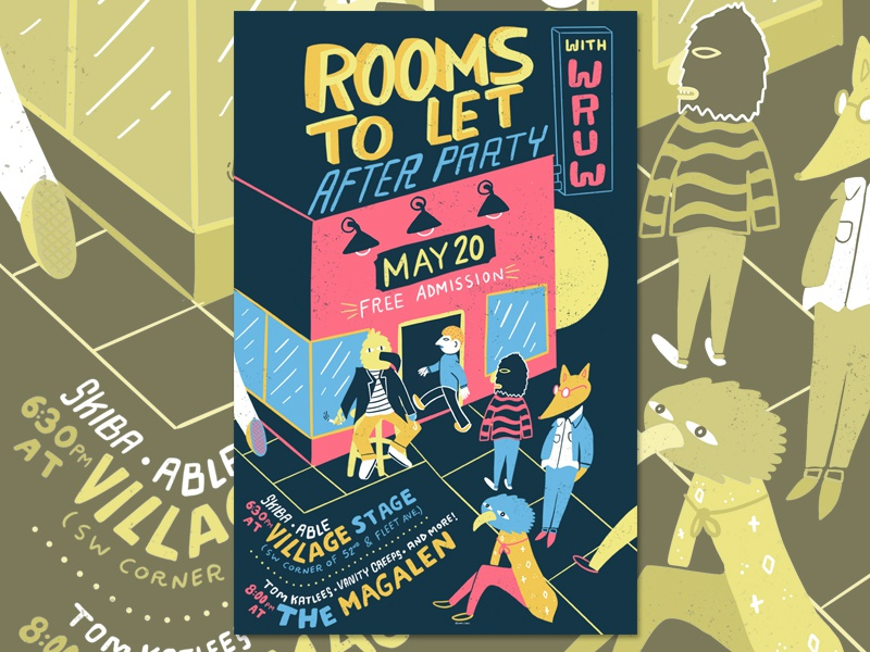 Rooms to Let After Party Poster cleveland typography lettering comic graphic print design illustration