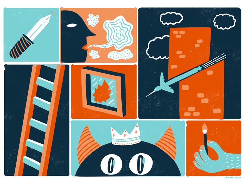 Illustrations From a Poster Design bird knife texture simple murderbydeath comic flat design illustration