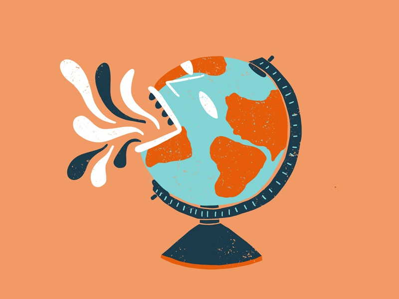Gasping Globe globalwarming flat globe spot design editorial illustration