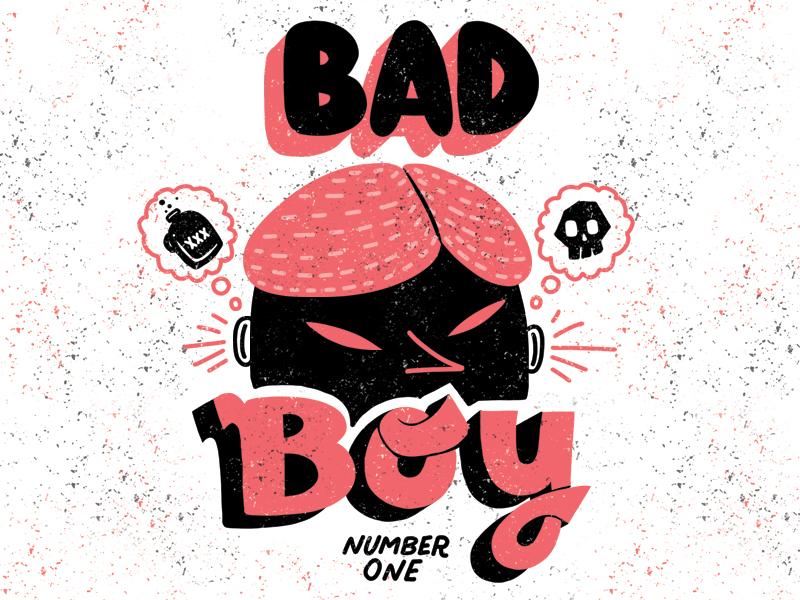 Bad Boy No.1 typography lettering flat simple comic texture skull design illustration