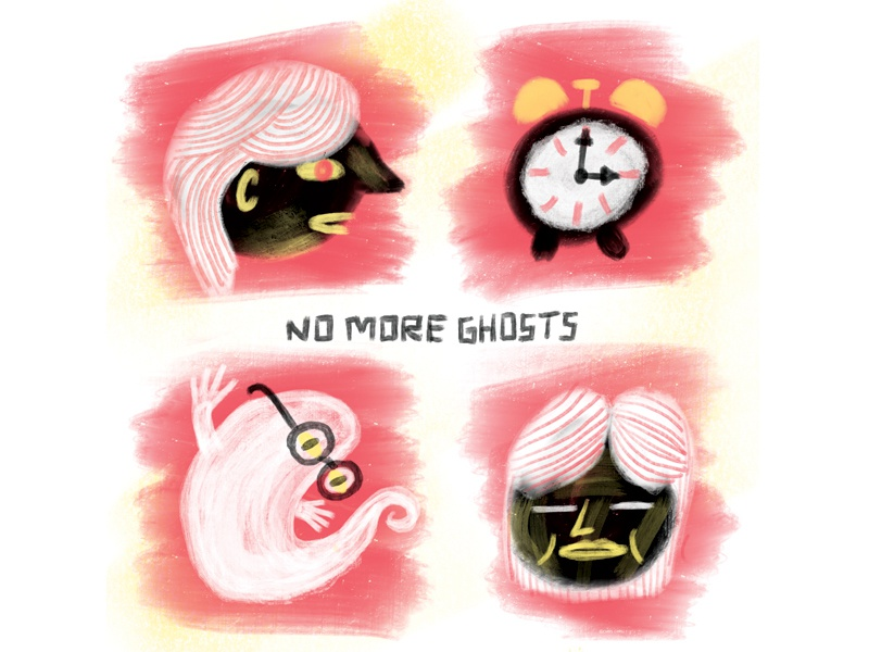 no mo alarm editorial brush ghost comic design illustration