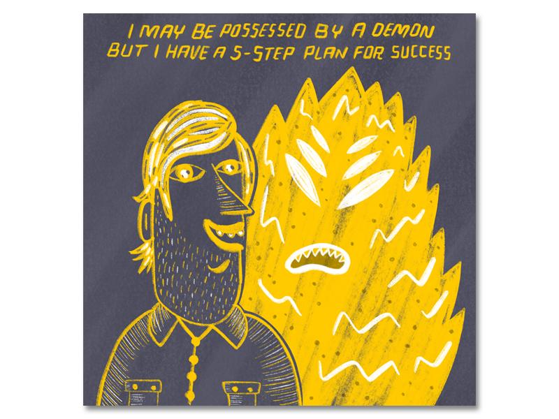 truuuu design demon print texture lettering comic illustration
