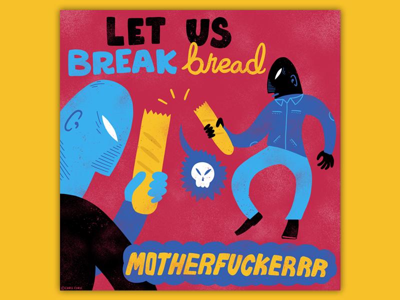 Break Bread editorial simple texture comic print lettering design illustration