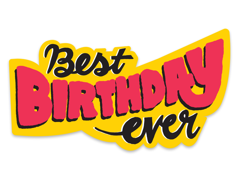 some lettering from an unused concept design sticker hand-lettering birthday typography lettering