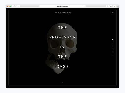 The Professor in the Cage website book marketing ui development clean simple dark parallax landing