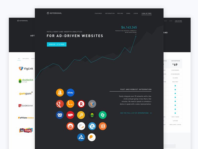 Adterminal Marketing Website ui marketing website graphs dark clean simple