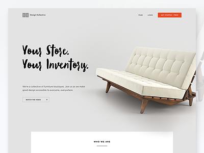 Design Kollective Landing Page clean simple ui furniture design marketing landing website