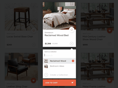 Design Kollective –Tile Actions overlay actions tile create filter select add collection shopping furniture interaction