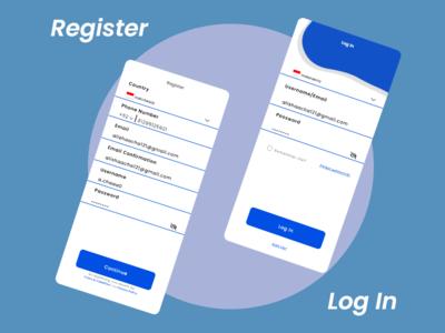 Register and Log In icon logo redesign design ux ui thyratiara app