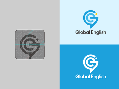 Global English Logo english course logo golden ratio simple logo negative space logo gestalt blue logo education logo school logo course logo brand identity g logo visual identity flat branding logo design