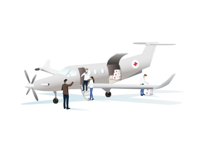 Medical Flight | Illustration storytelling illustrator aircraft medecine doctor doctors mask coronavirus help medical flight illustration